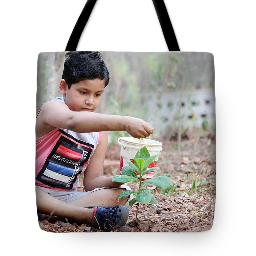 World Environment Day Tote Bag featuring the pyrography World Environment Day by ShashiBhushan Pandey