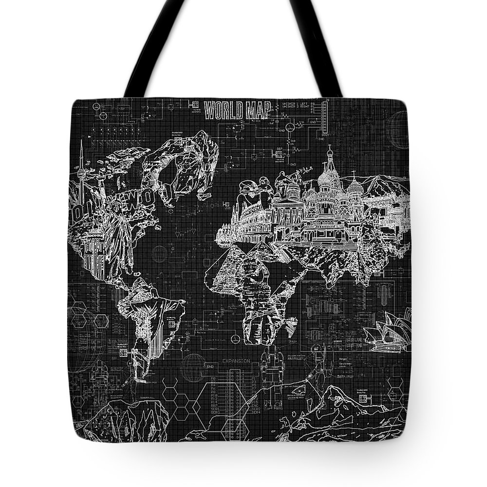 World map blueprint 2 tote bag for sale by bekim art map of the world tote bag featuring the digital art world map blueprint 2 by bekim gumiabroncs Choice Image