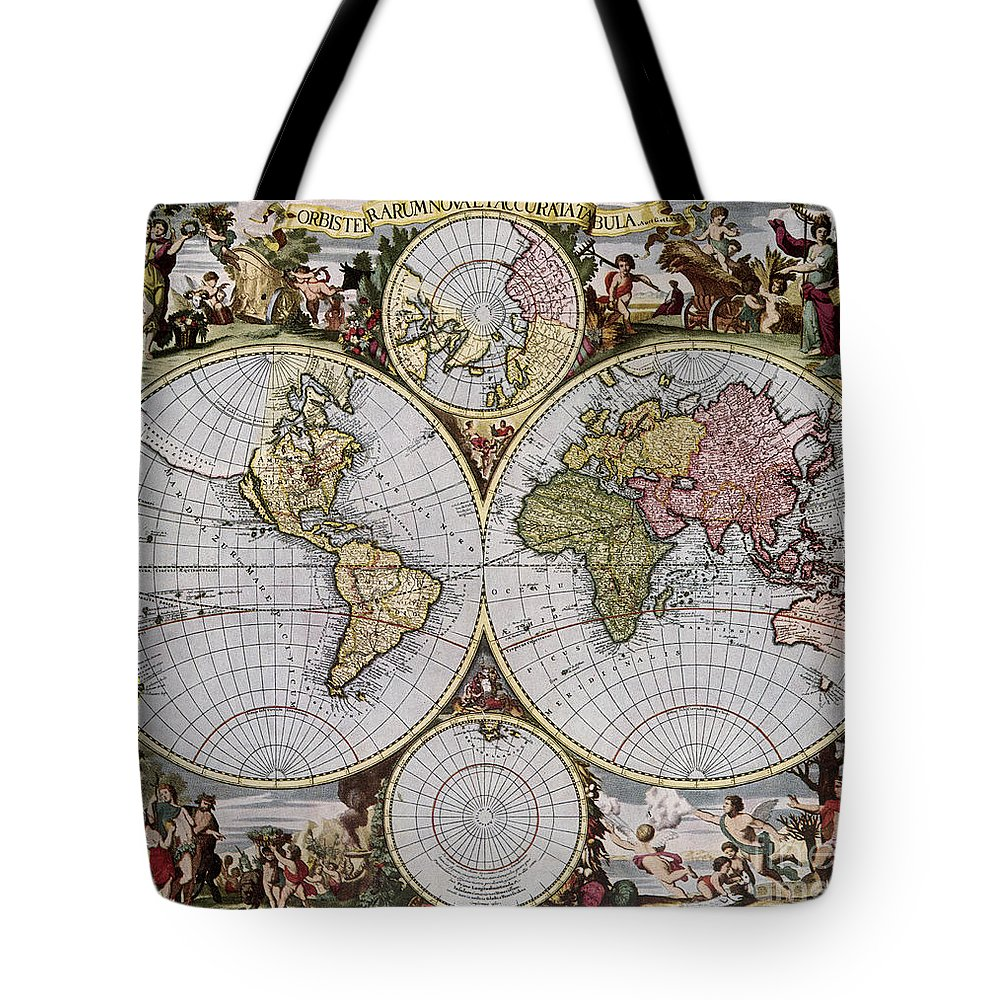 1690 Tote Bag featuring the photograph World Map, C1690 by Granger