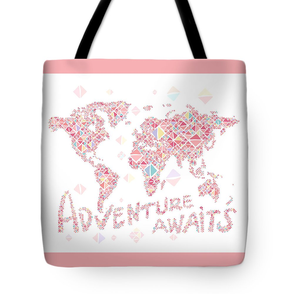 World Map Tote Bag featuring the digital art World Map Geometric Colorful Pink by Hieu Tran
