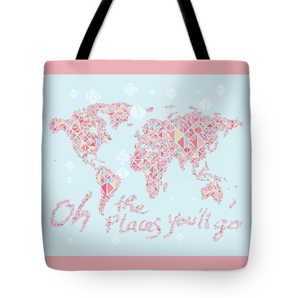 World Map Tote Bag featuring the digital art World Map Geometric Pink Mint by Hieu Tran