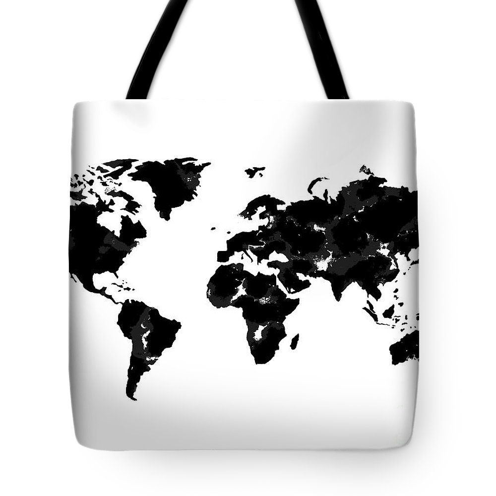 Watercolor Tote Bag featuring the painting World Map In Black And White by Tori Rodriguez