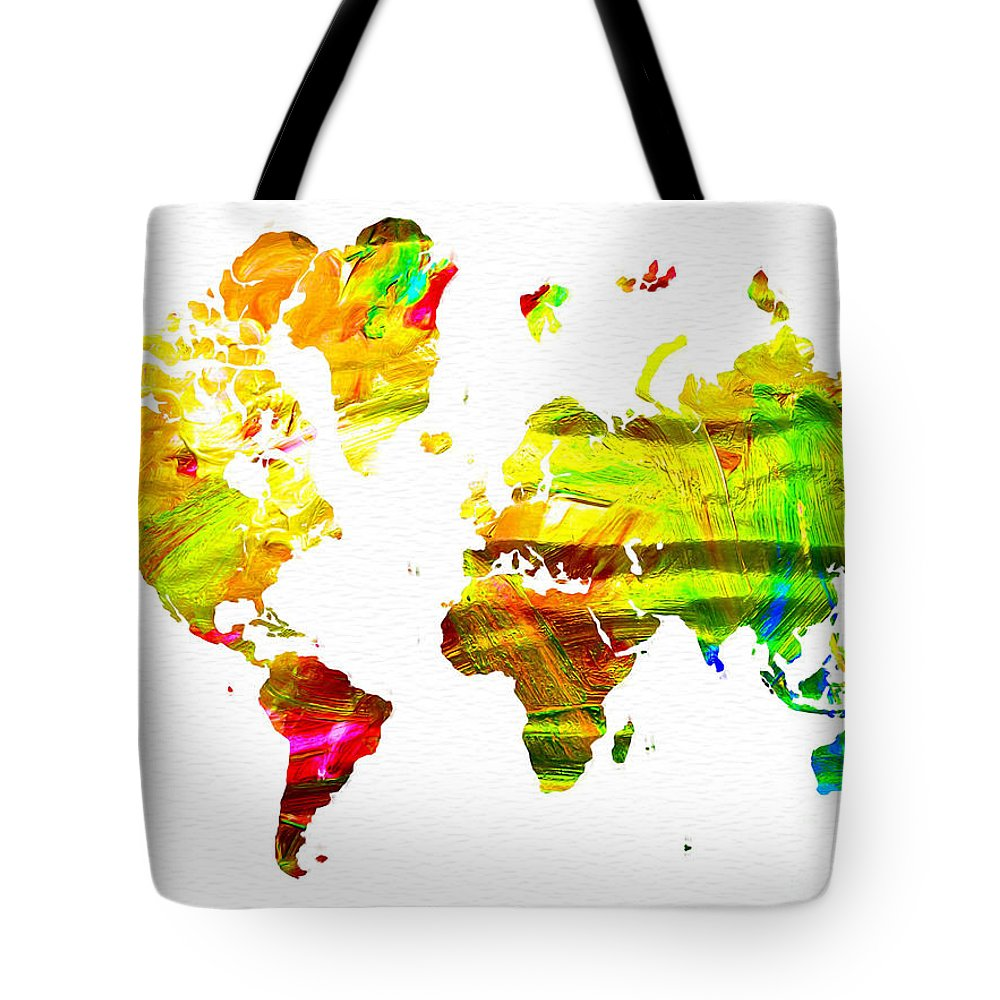 World Map Painted Tote Bag featuring the painting World Map Painted by Daniel Janda