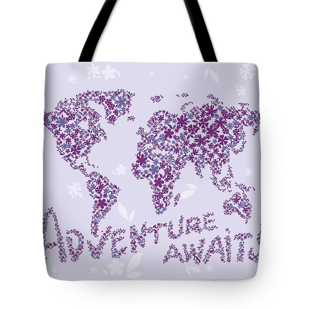 World Map Tote Bag featuring the digital art World Map Purple Lavender Floral Pattern by Hieu Tran