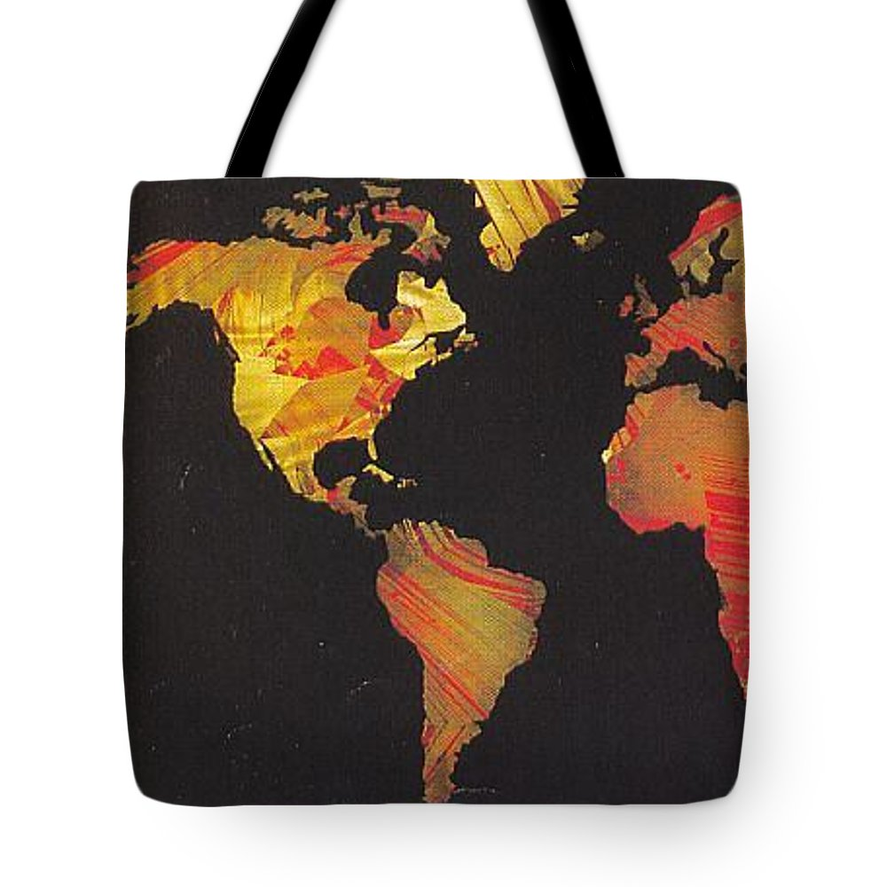 Landscape Tote Bag featuring the painting World Map by Rick Silas