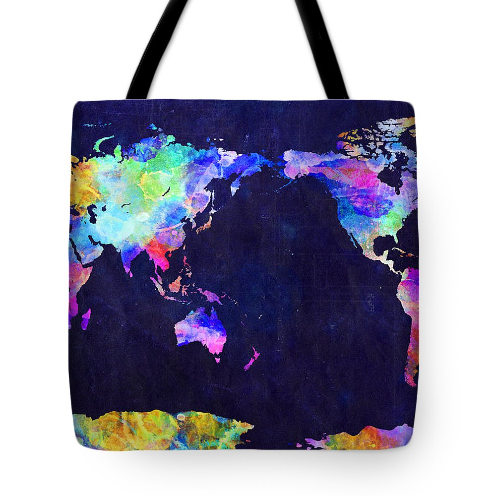 Urban Watercolor World Map.World Map Urban Watercolor Pacific Tote Bag For Sale By Michael Tompsett