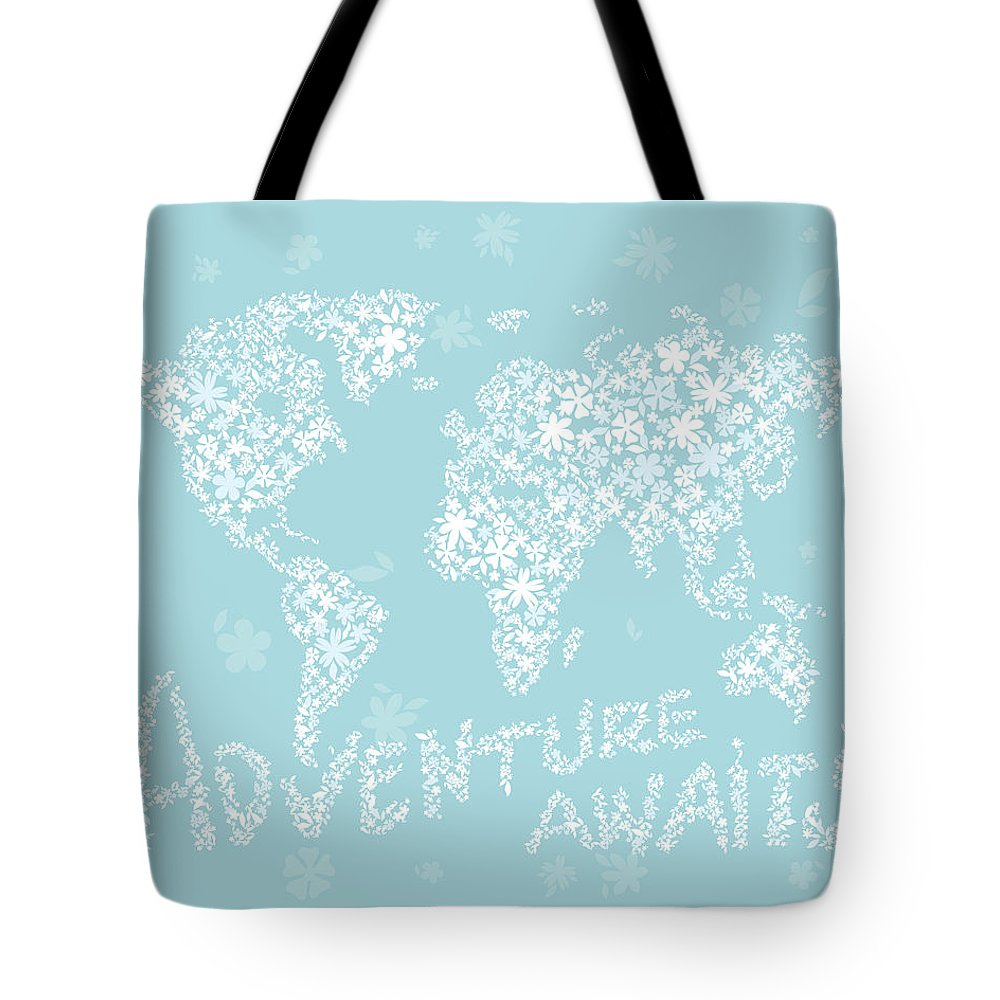 World Map Tote Bag featuring the digital art World Map White Flowers Aqua Blue by Hieu Tran