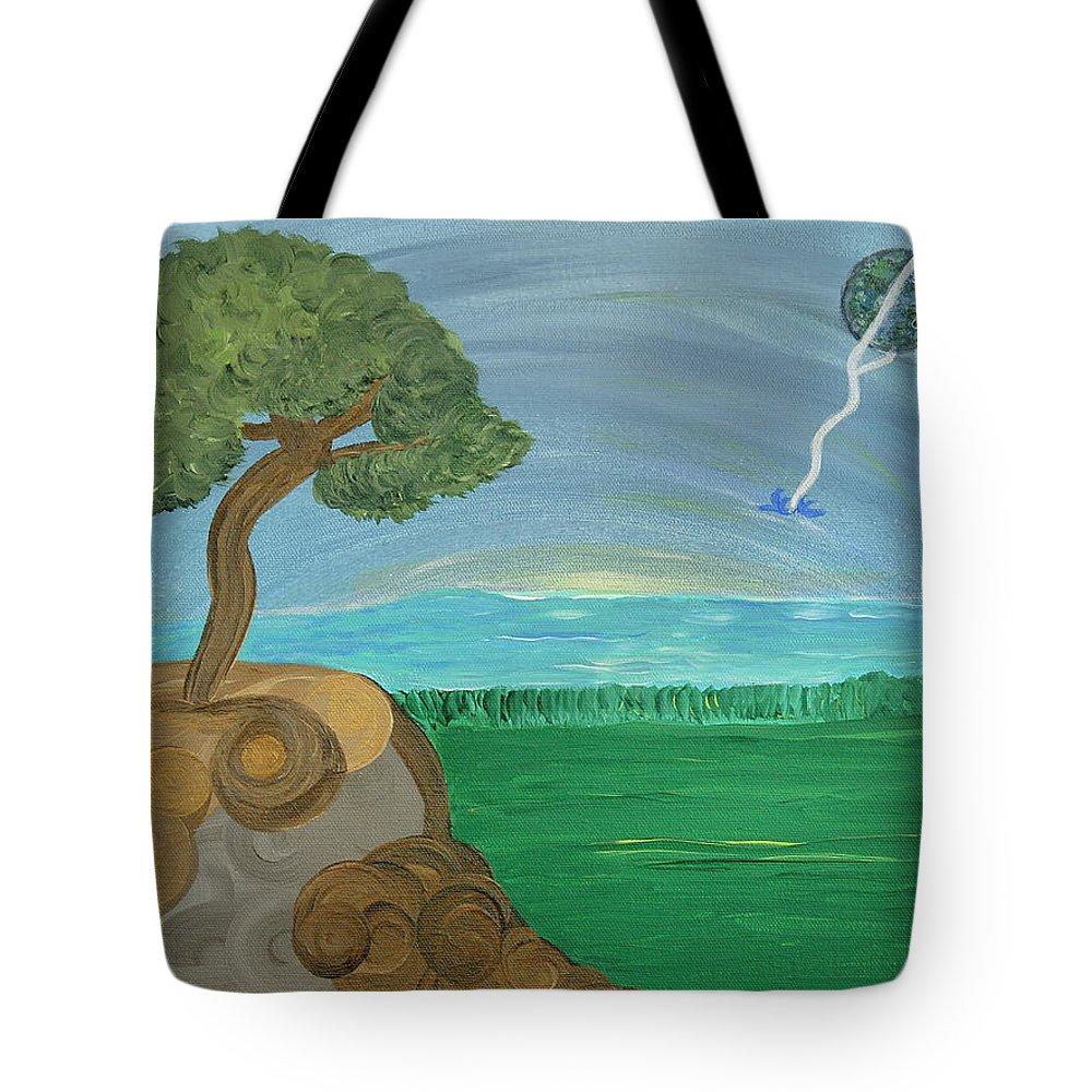 Landscape Tote Bag featuring the painting World On A String by Sara Credito