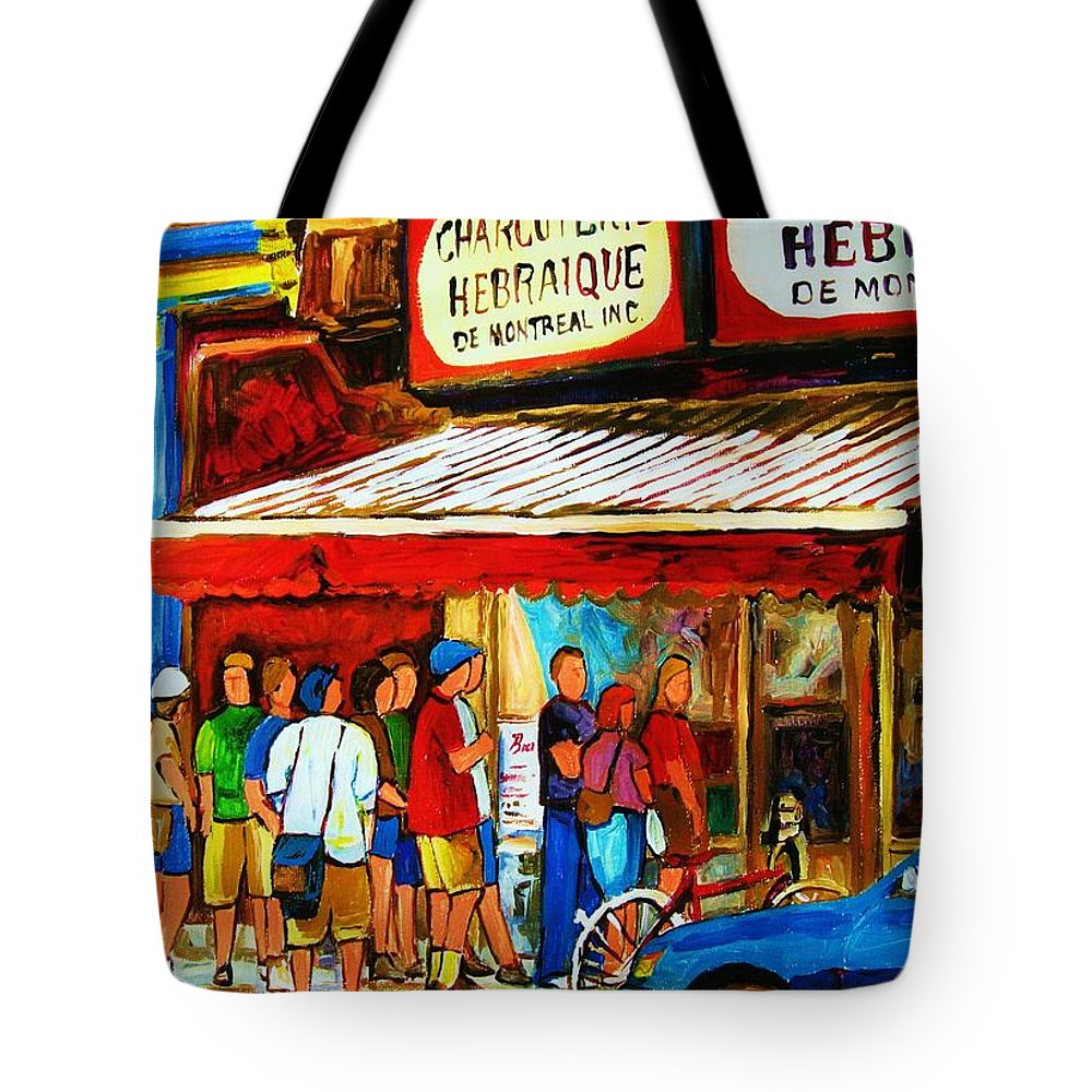 Montreal Streetscenes Tote Bag featuring the painting Worth The Wait by Carole Spandau