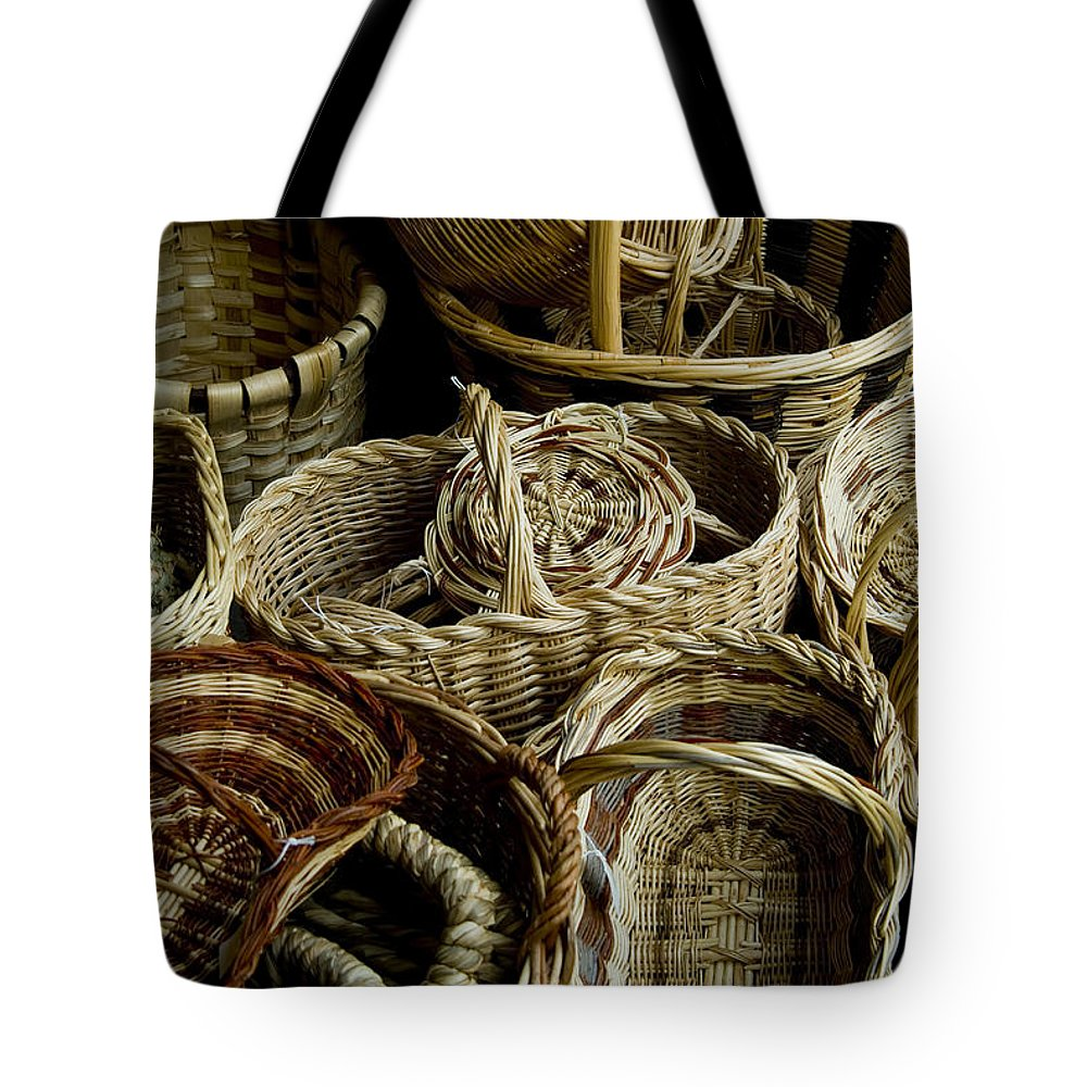 Photography Tote Bag featuring the photograph Woven Baskets For Sale At A Market by Todd Gipstein