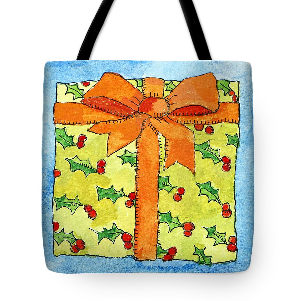 Present Tote Bag featuring the painting Wrapped Gift by Jennifer Abbot