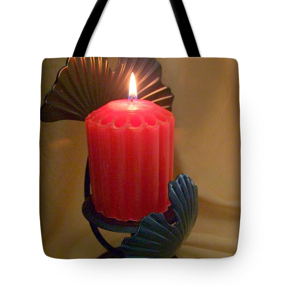 Candle Tote Bag featuring the photograph Wrapped In A Golden Glow by Mary Deal