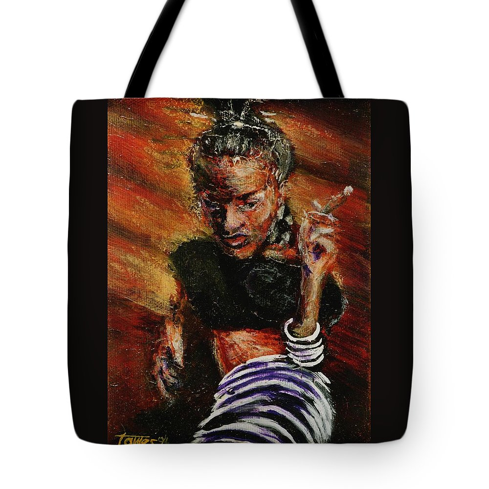 Smoke Tote Bag featuring the painting Wrapped In Smoke by Dennis Tawes