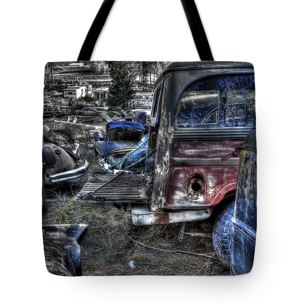 Automotive Tote Bag featuring the photograph Wrecking Yard Study 13 by Lee Santa