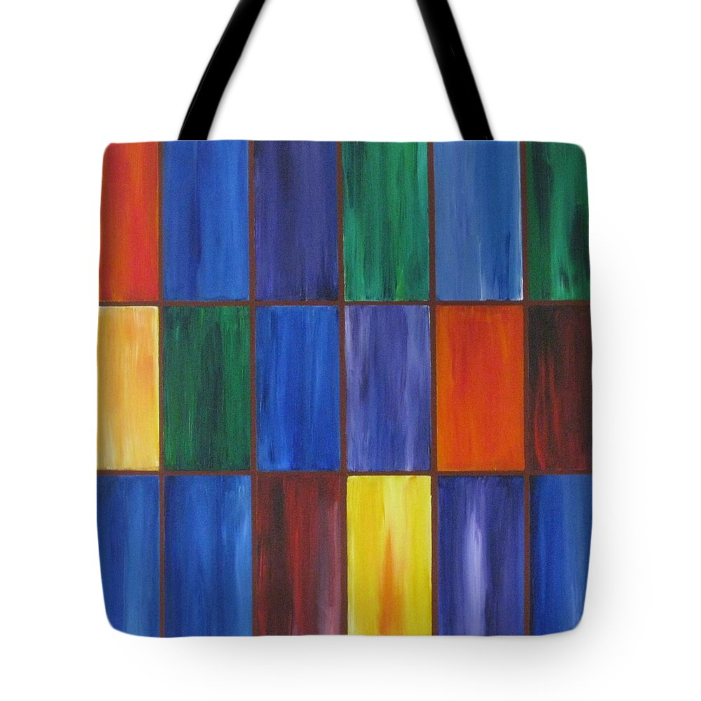 Rectangles Tote Bag featuring the painting wRectangles by Deborah Schuster