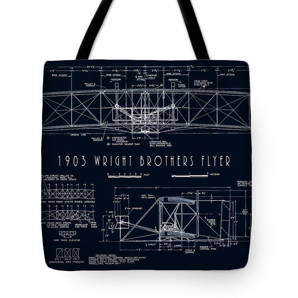 wright Bros Tote Bag featuring the digital art Wright Bros Flyer Aeroplane Blueprint 1903 by Daniel Hagerman