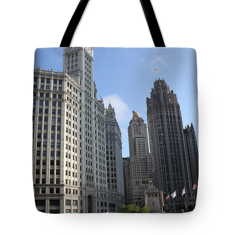 Chicago Tote Bag featuring the photograph Wrigley And Tribune Tower by Lauri Novak