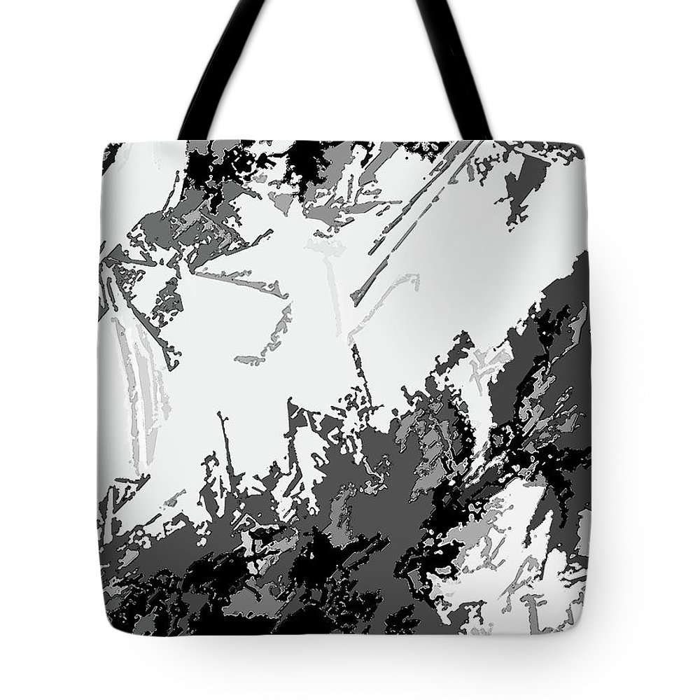 Abstract Tote Bag featuring the digital art Writing In Snow by Lenore Senior