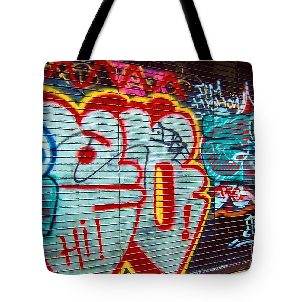 Graffiti Tote Bag featuring the photograph Writing On The Wall by Debbi Granruth