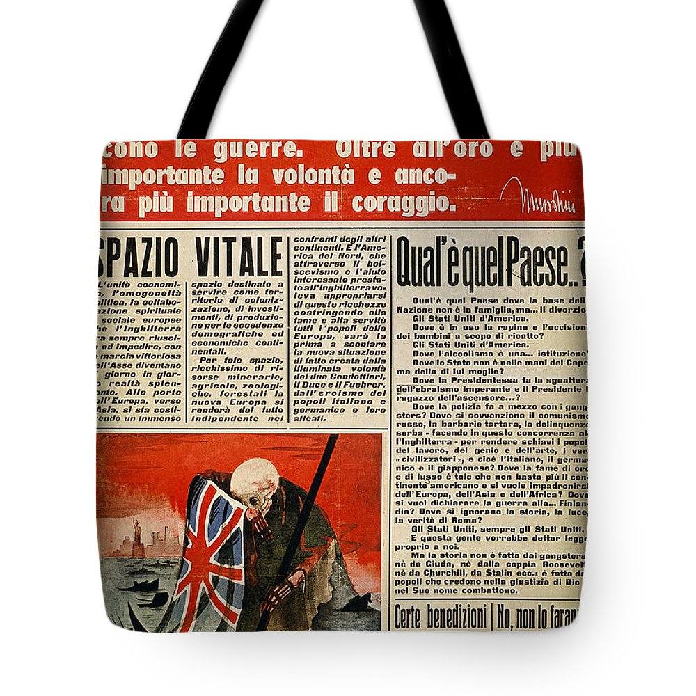1942 Tote Bag featuring the photograph Wwii: Italian Newspaper by Granger