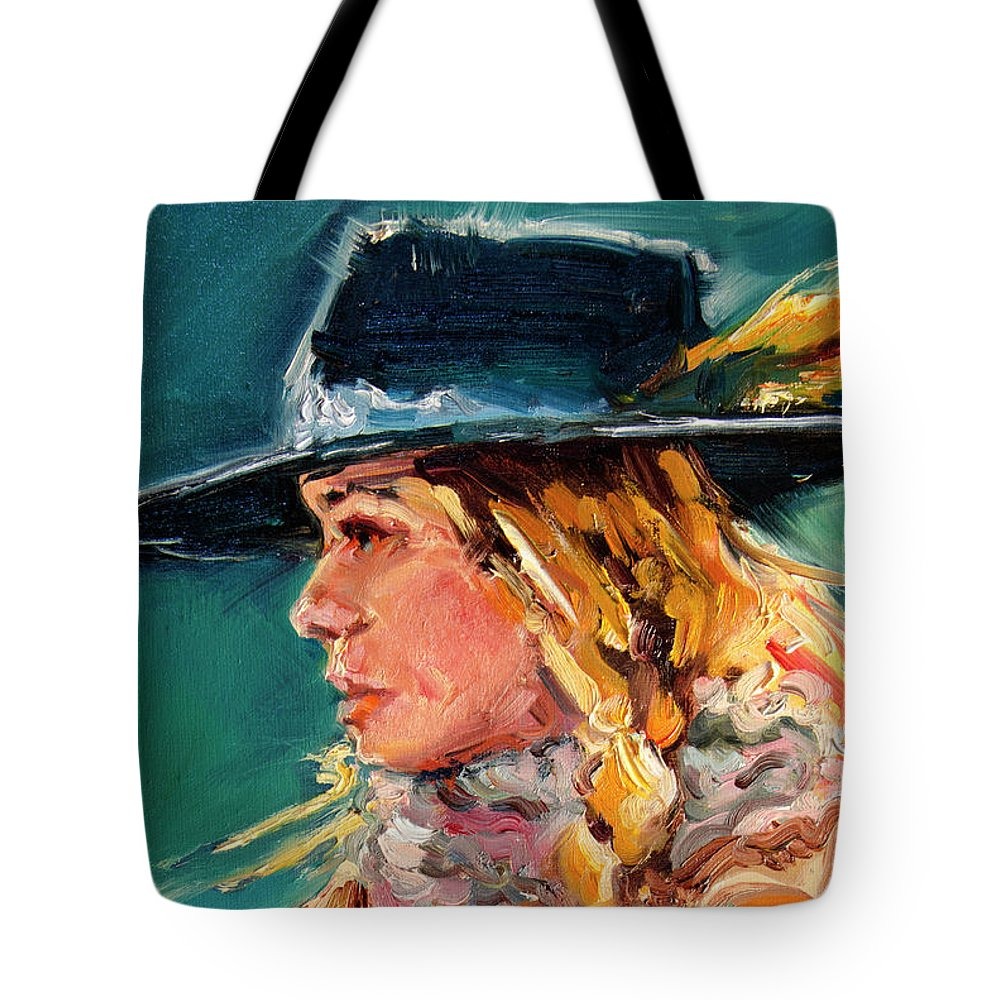Cowgirl Tote Bag featuring the painting Wyoming Cowgirl Close by Diane Whitehead