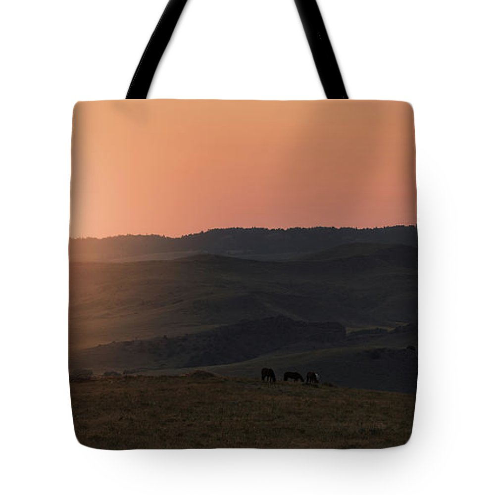 Horizon Tote Bag featuring the photograph Wyoming Sunrise by Terri Cage
