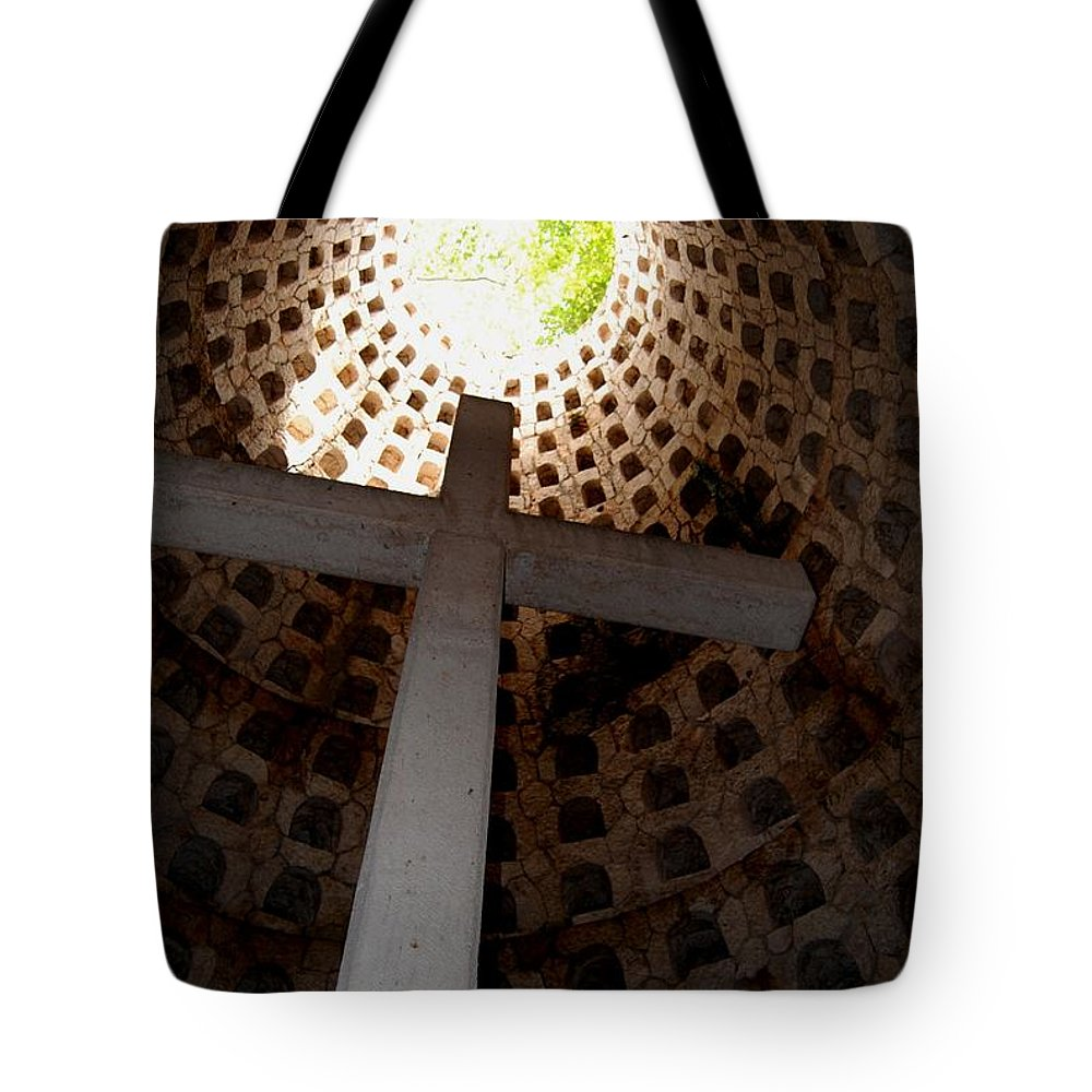 Cross Tote Bag featuring the photograph Xcaret Cemetery Catacomb by Angela Murray