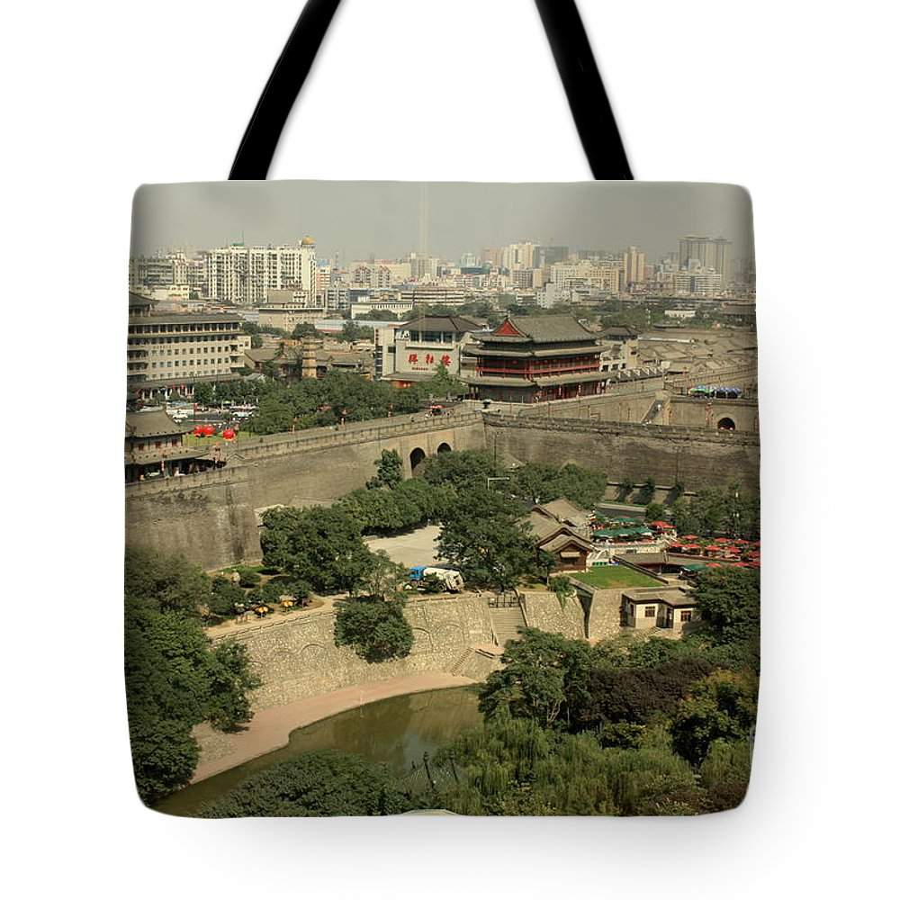 Xi Tote Bag featuring the photograph Xi'an City Wall With Skyline by Carol Groenen