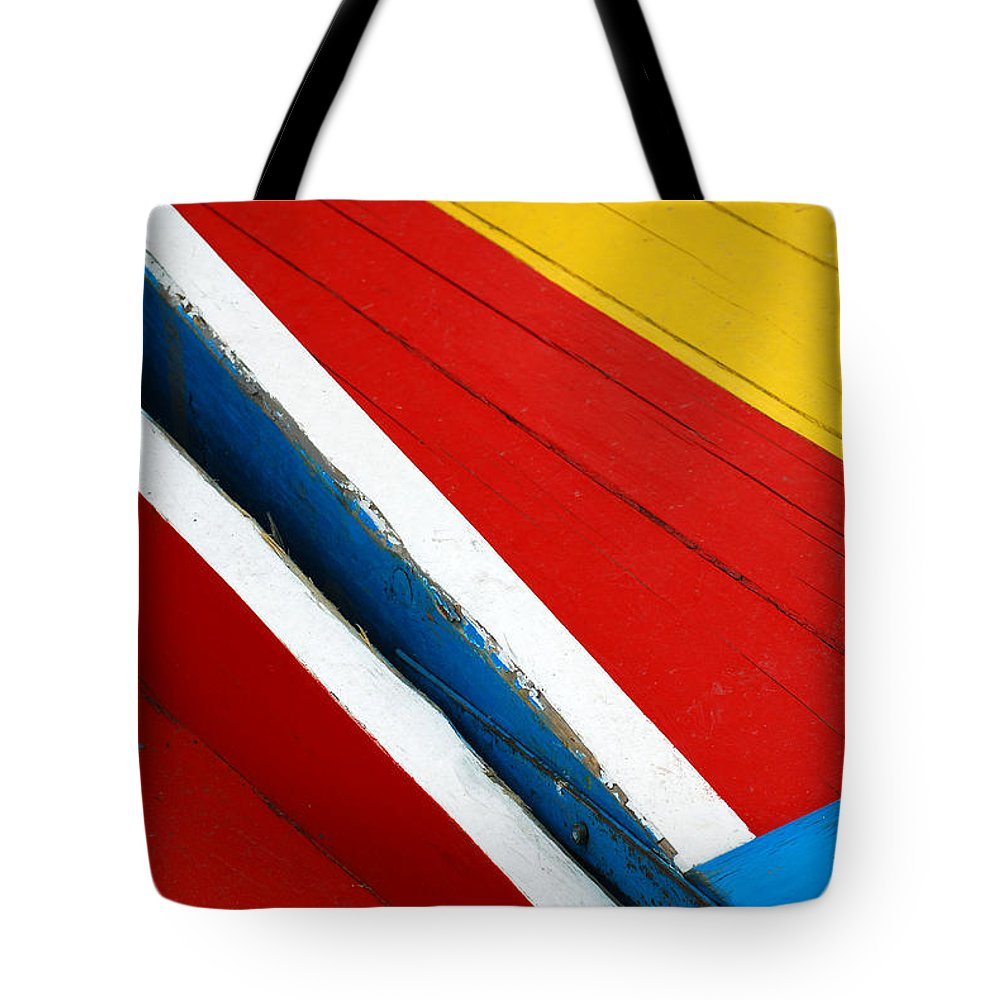 Red Tote Bag featuring the photograph Xochimilco Boat Abstract 1 by Skip Hunt