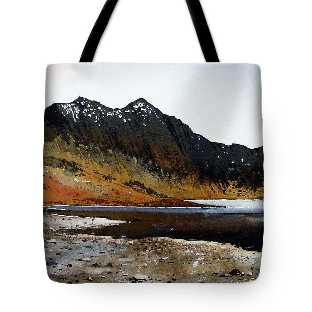 Watercolour Tote Bag featuring the painting Y Lliwedd Ridge From Lake Llyn Llydaw by Paul Dene Marlor