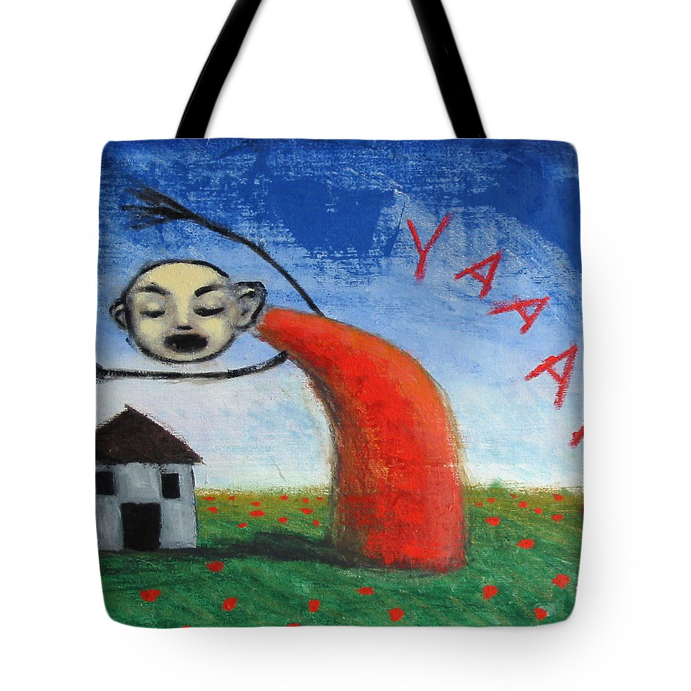 Figure Tote Bag featuring the painting Yaaahhh by Pauline Lim