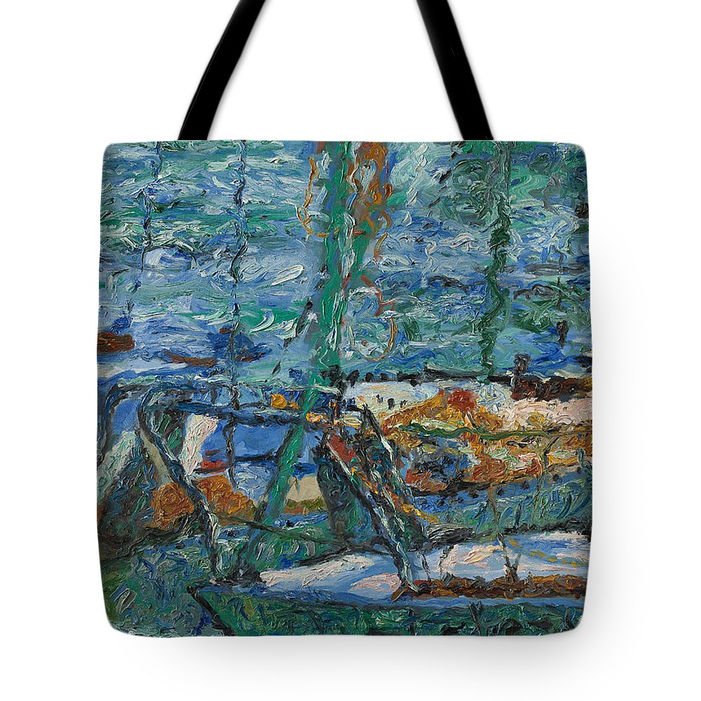 Landscape Tote Bag featuring the painting Yachts by Robert Nizamov