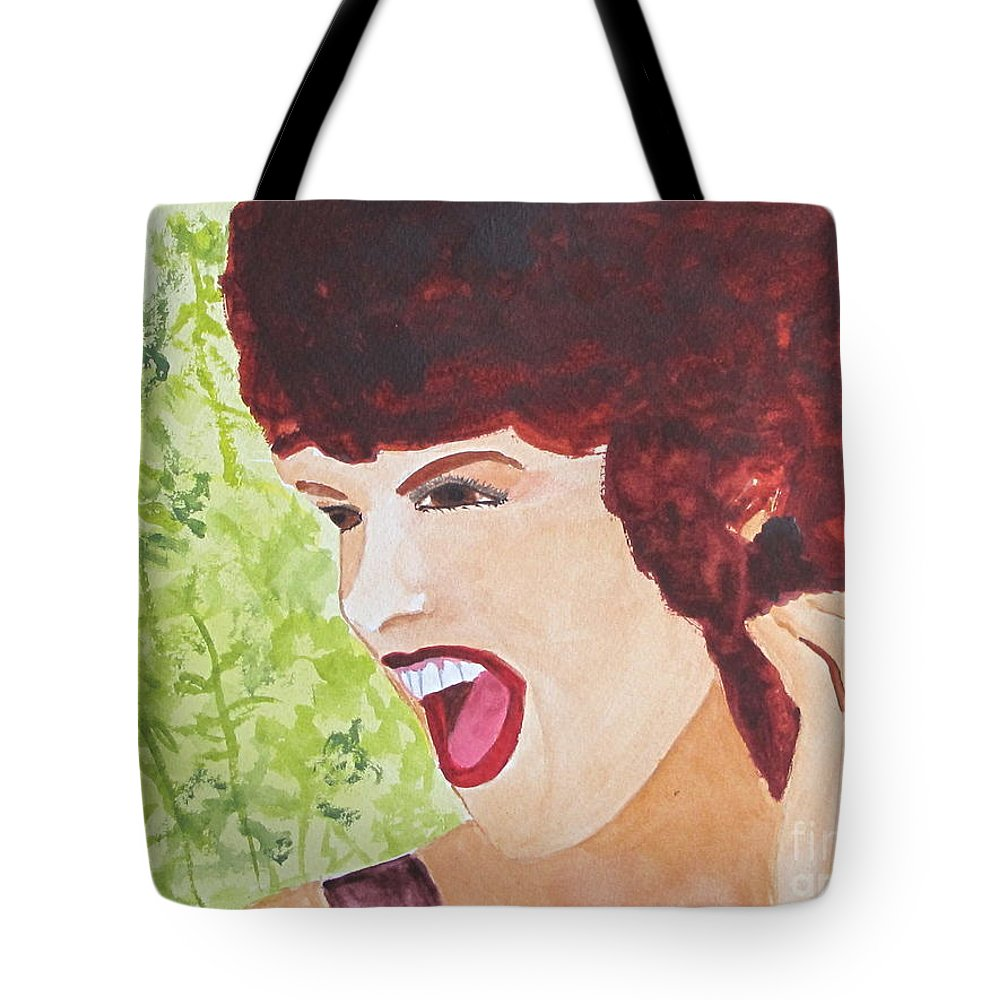 Woman Tote Bag featuring the painting Yah by Sandy McIntire