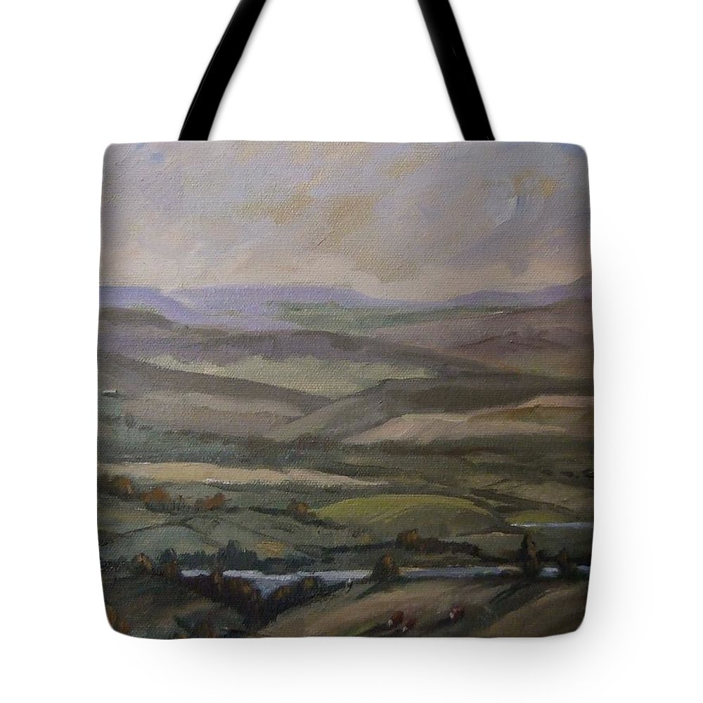Landscape Water Trees Sky Hills Tote Bag featuring the painting Yakima Vista by Ruth Stromswold