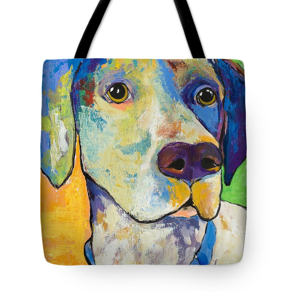 German Shorthair Animalsdog Blue Yellow Acrylic Canvas Tote Bag featuring the painting Yancy by Pat Saunders-White