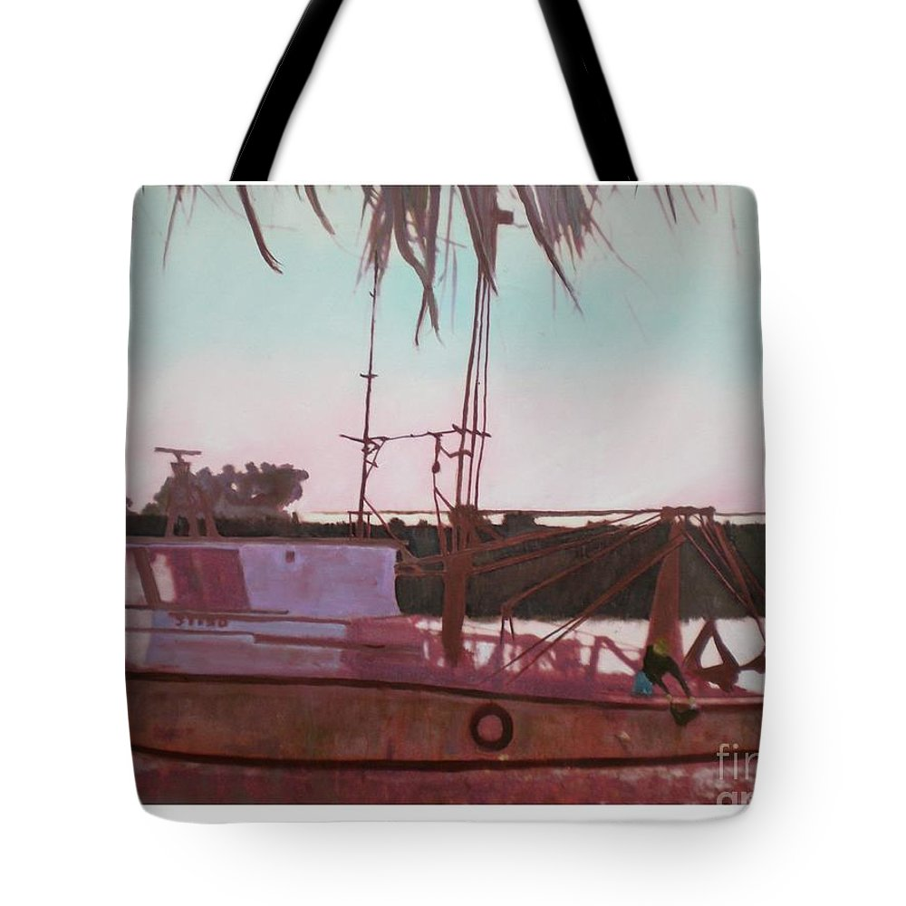 Seascape Tote Bag featuring the digital art Yankee Town Fishing Boat by Hal Newhouser
