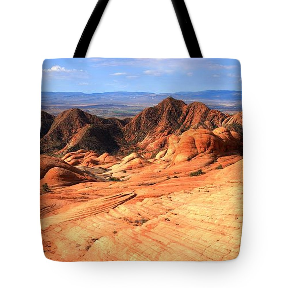Yant Flat Tote Bag featuring the photograph Yant Flat Candy Cliffs Panorama by Adam Jewell