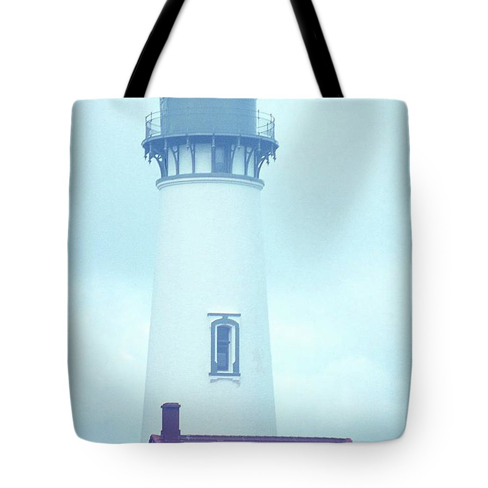 Lighthouse Tote Bag featuring the photograph Yaquina Head Lighthouse In The Fog by Rebecca Renfro
