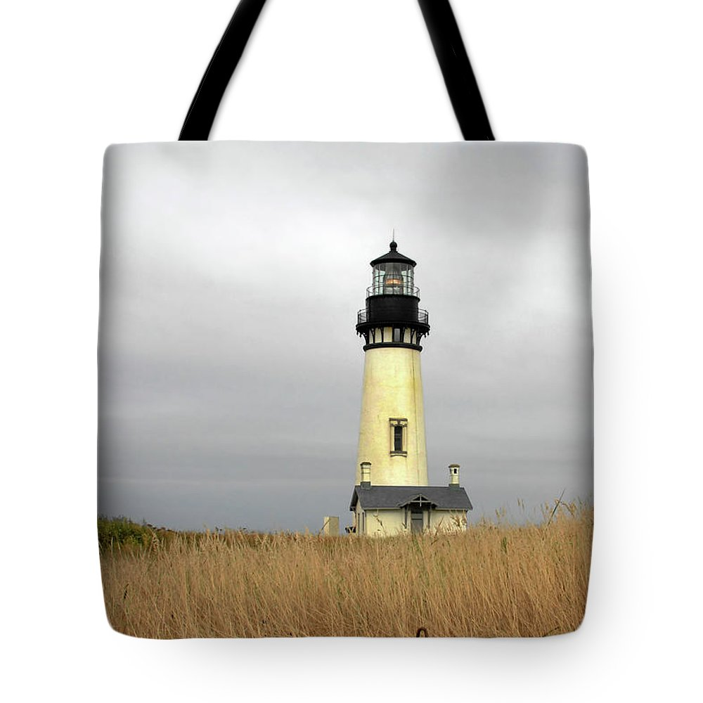 Yaquina Head Lighthouse Tote Bag featuring the photograph Yaquina Lighthouses - Yaquina Head Lighthouse Western Oregon by Christine Till
