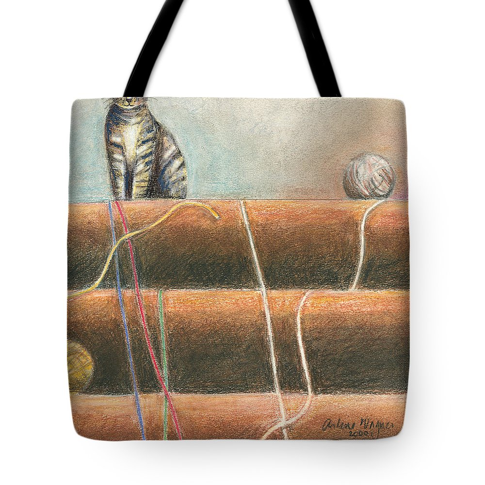 Cat Tote Bag featuring the pastel Yarn...what Yarn by Arline Wagner