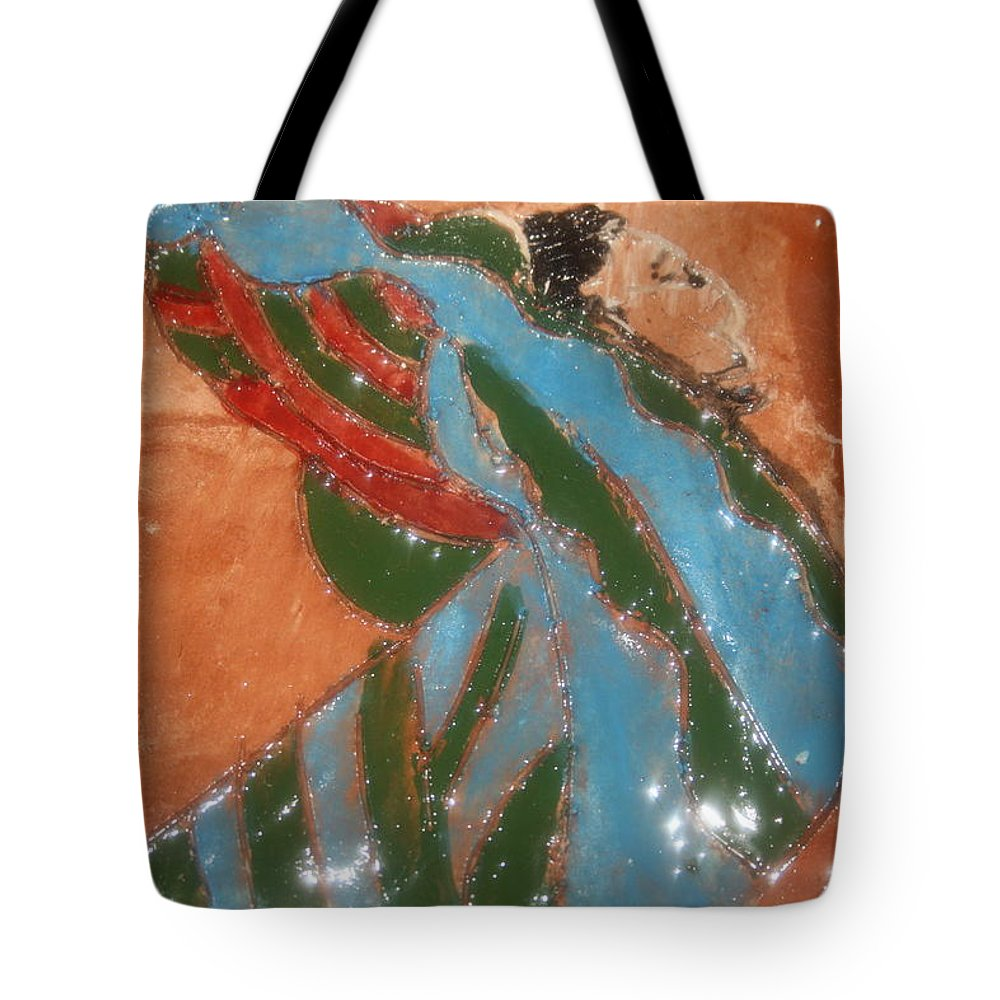 Jesus Tote Bag featuring the ceramic art Yawn And Stretch - Tile by Gloria Ssali