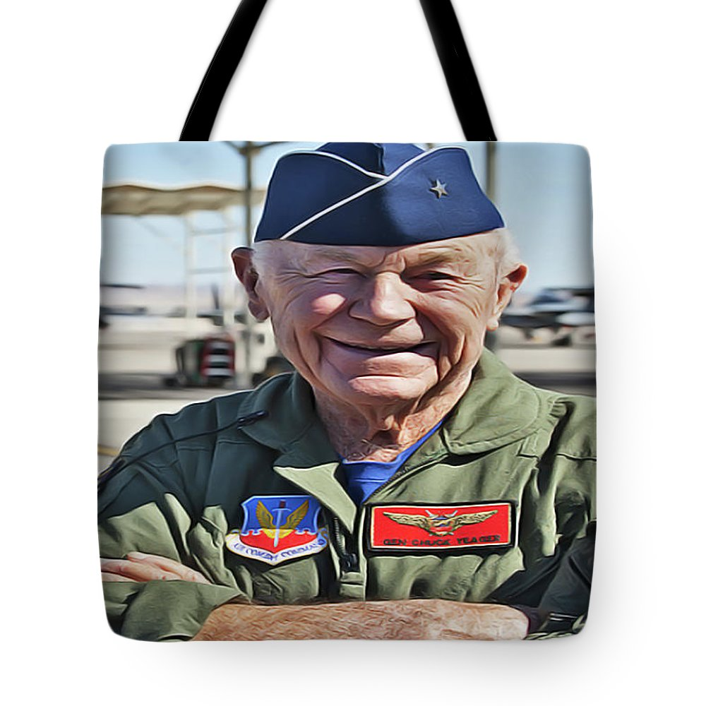 Chuck Yeager Tote Bag featuring the painting Yeager by Harry Warrick