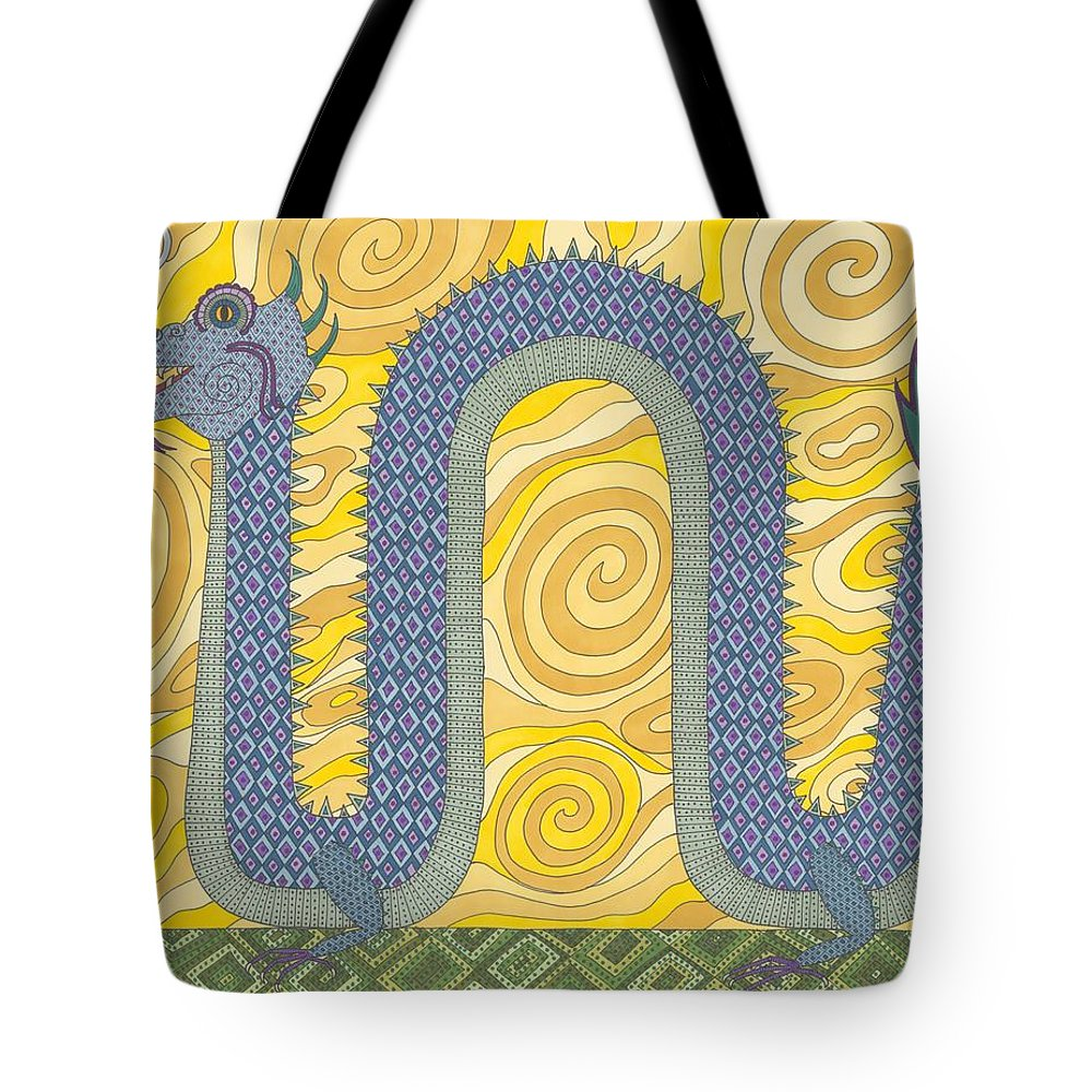 Dragon Tote Bag featuring the drawing Year Of The Dragon by Pamela Schiermeyer