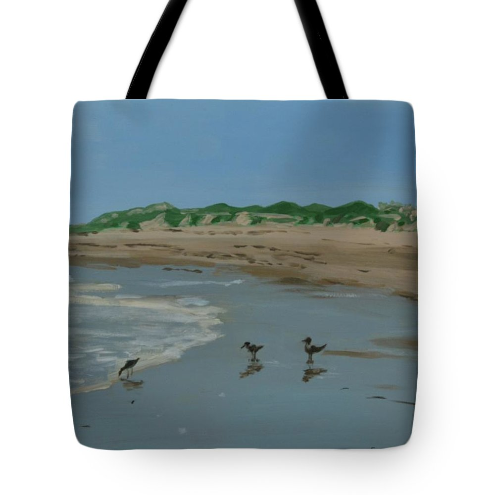 Shore Tote Bag featuring the painting Year-rounders by Eugenie B Fein