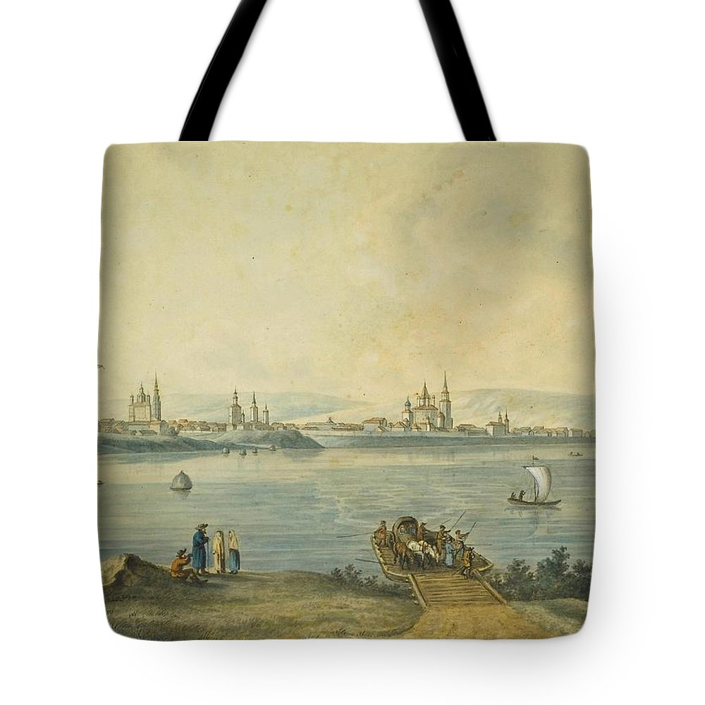 Attributed To Andrey Yefimovich Martynov (st. Petersburg 1768 - Rome 1826) The Port Of Nikola At The Mouth Of The River Angara & View Of Irkutsk Tote Bag featuring the painting Yefimovich Martynov by MotionAge Designs