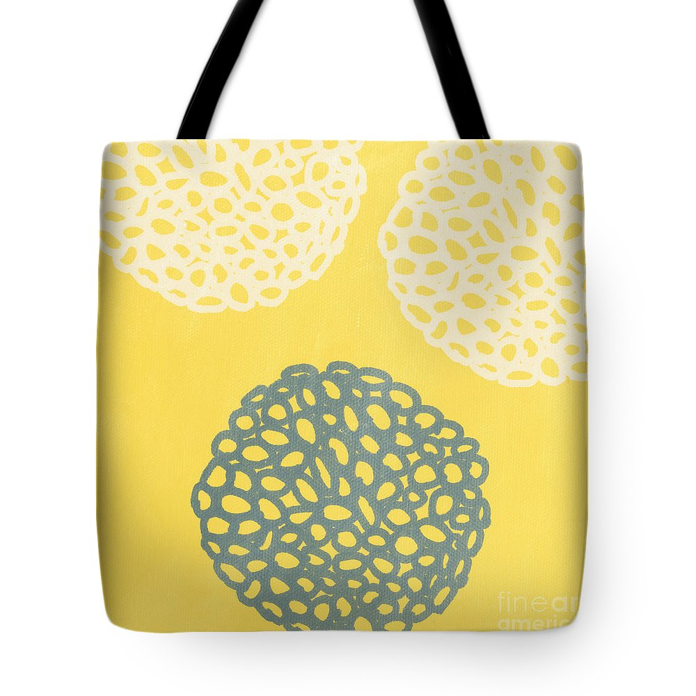 Yellow Tote Bag featuring the painting Yellow and Gray Garden Bloom by Linda Woods