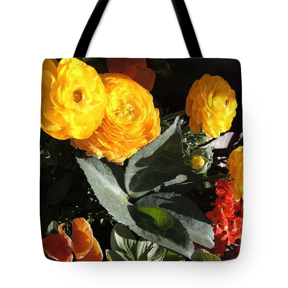 Floral Tote Bag featuring the photograph Yellow And Orange Marigolds by Cindy Freeman
