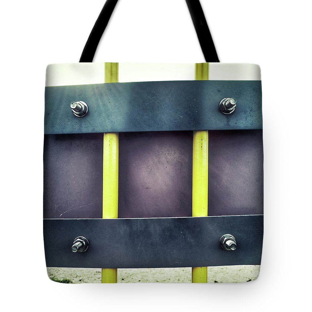 Abstract Tote Bag featuring the photograph Yellow Bars Close Up by Tom Gowanlock