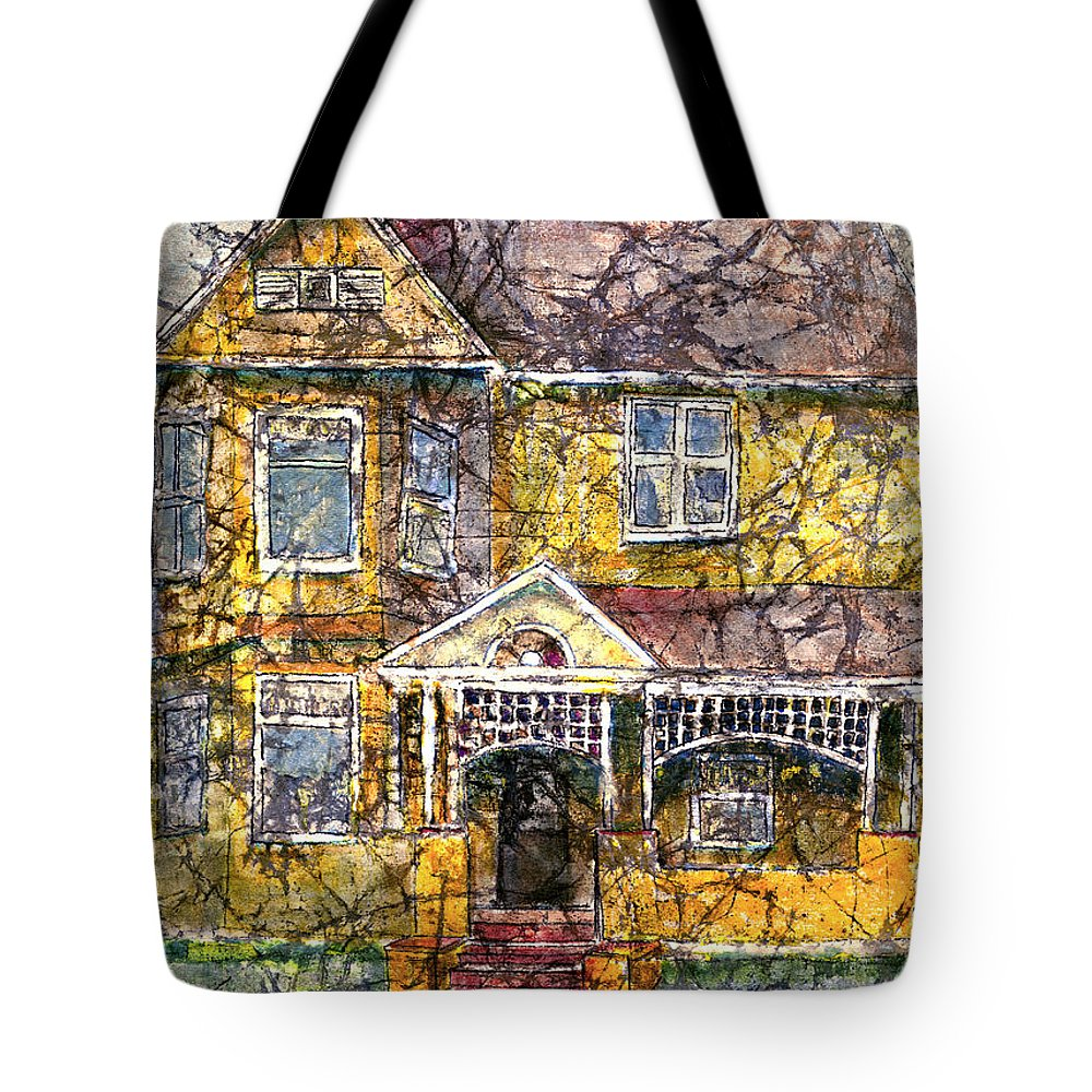 House Tote Bag featuring the mixed media Yellow Batik House by Arline Wagner