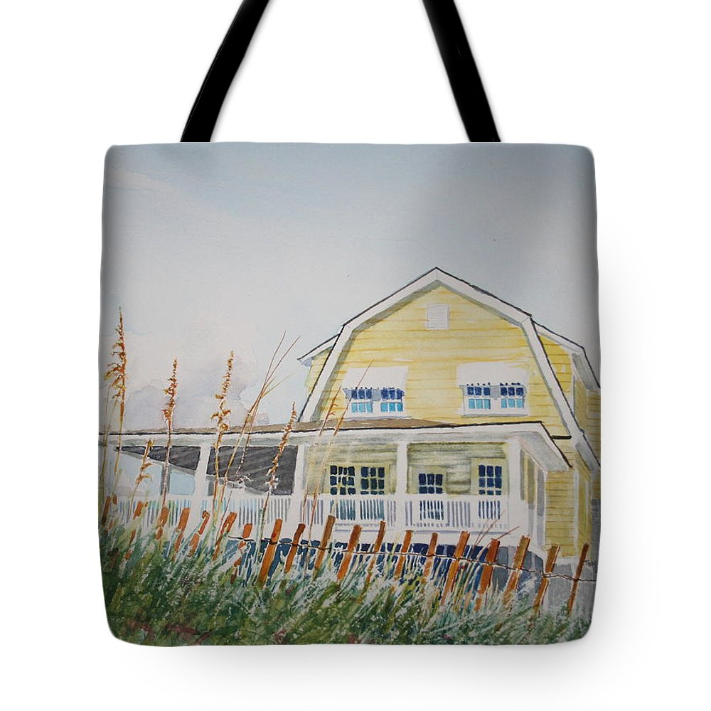 Beach Tote Bag featuring the painting Yellow Beach House Wrightsville Beach by Tom Harris